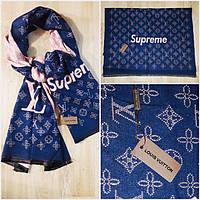 Палантин шарф люкс бренда репликаLV Supreme синий+ розовая пудра