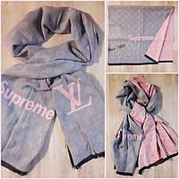 Палантин шарф люкс брендареплика LV Supreme серый+ розовая пудра