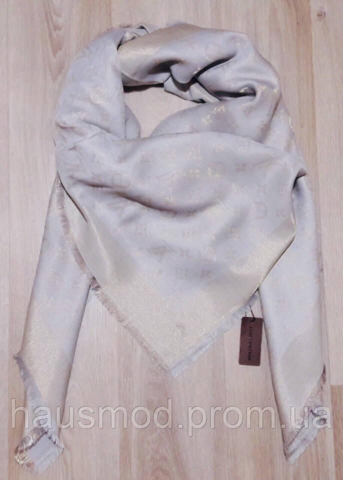 Люрексовый палантин-шаль реплика Louis Vuitton серый вышит золотой нитью