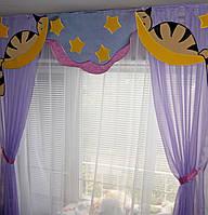 "Ламбрекен для детской комнаты ""Коты на луне"""