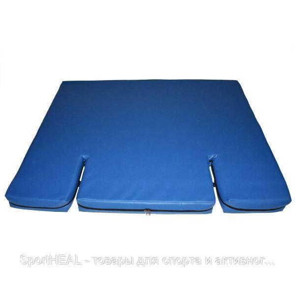 Мат гимнастический Champion 120*100*10см, с вырезом под шведскую стенку, синий чехол эко-кожа