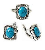 "Гарнитур ""Сафари"" с бирюзой, покрытый серебром (a15032b0) (Кольцо 18 размер)"