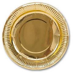 Тарелка картон фольгированная 17см 6шт Gold (Золотая)