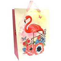 Пакет подарочный бумажный Tukzar 32*26*10см Фламинго, 4 дизайна XM-2057(M)