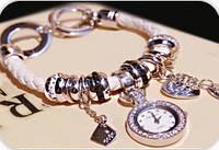 Часы-браслет Pandora белые с золотистым