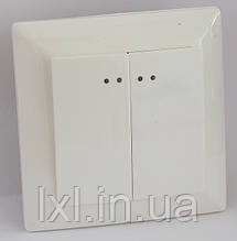 Вимикач подвійний з підсвіткою (білий, крем) LXL ULTRA