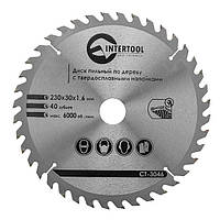 Диск пильный INTERTOOL по дереву 230x30x16 40, КОД: 295252