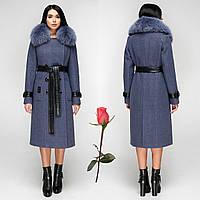 Женское зимнее  пальто  из итальянской пальтовой ткани  и мехом  F  771157  Джинс