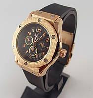 Часы женские наручные Hublot Geneve 3920L черные с бронзой