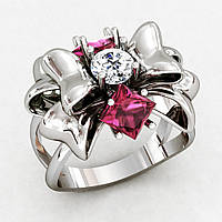 Кольцо  женское серебряное Бант Подарок