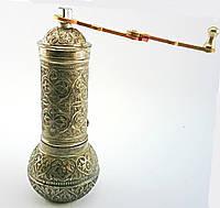 Турецкая кофемолка 19х7см, цвет: состаренное серебро
