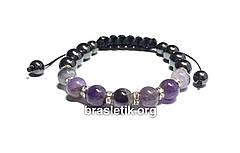 Женский браслет из натуральных камней Аметист и Гематит