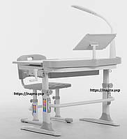 Комплект збільшений 90 см парта+стілець + НАСТІЛЬНА ЛАМПА + підставка для книжок, 2 кольори, фото 1