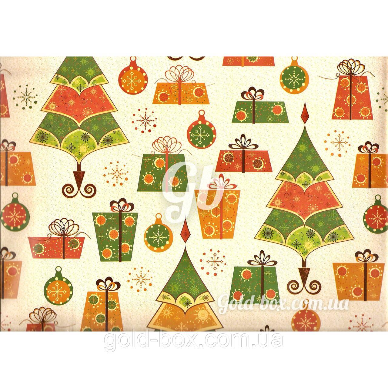 Новогодняя бумага для упаковки подарков «Ёлка и Подарки» 10шт