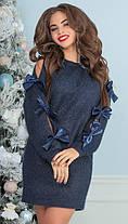 Т1201 Платье из пушистой ангоры декорировано лентами (размеры 42-46), фото 3