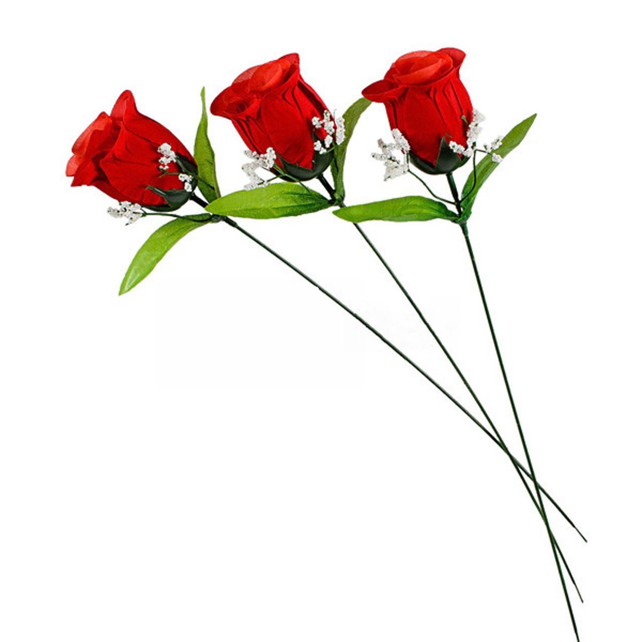 Роза Бутон  бархат на ножке, 43см