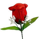 Роза Бутон  бархат на ножке, 43см, фото 2