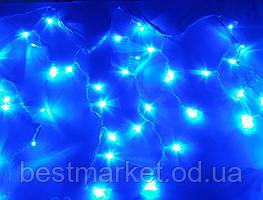 Новогодняя Светодиодная Гирлянда Штора - Бахрома с Елочками 80 Led Лампочек 2,8 х 0,6 Синий