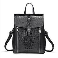 Рюкзак сумка женский городской кожаный с тиснением под крокодила (черный), фото 1