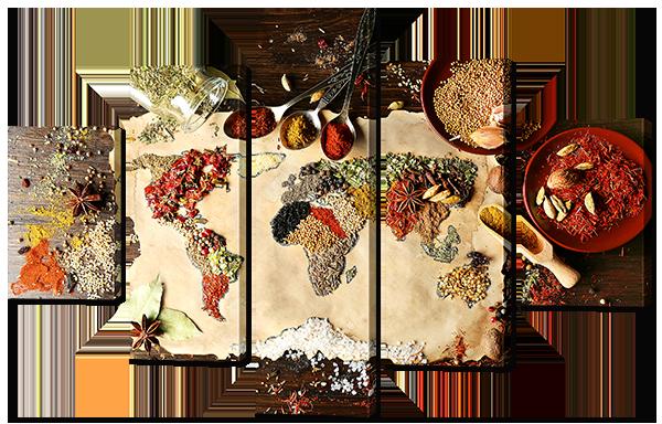 Модульная картина Interno Эко кожа Карта со специями  108х70см (А828S)