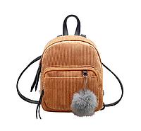 Рюкзак женский мини сумка CONEED вельветовый Коричневый, фото 1
