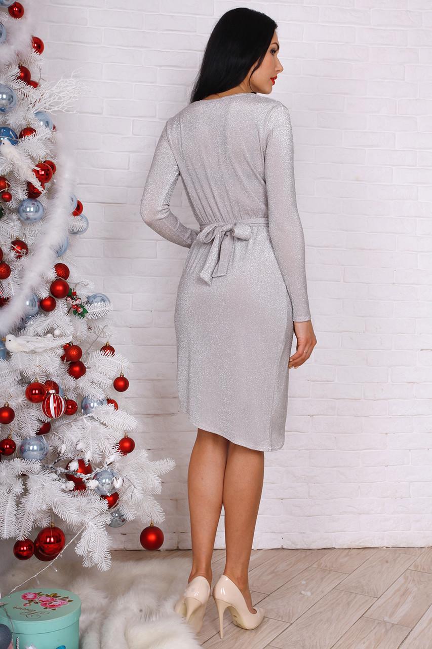 2a24401100f Серебристое платье из люрекса с запахом