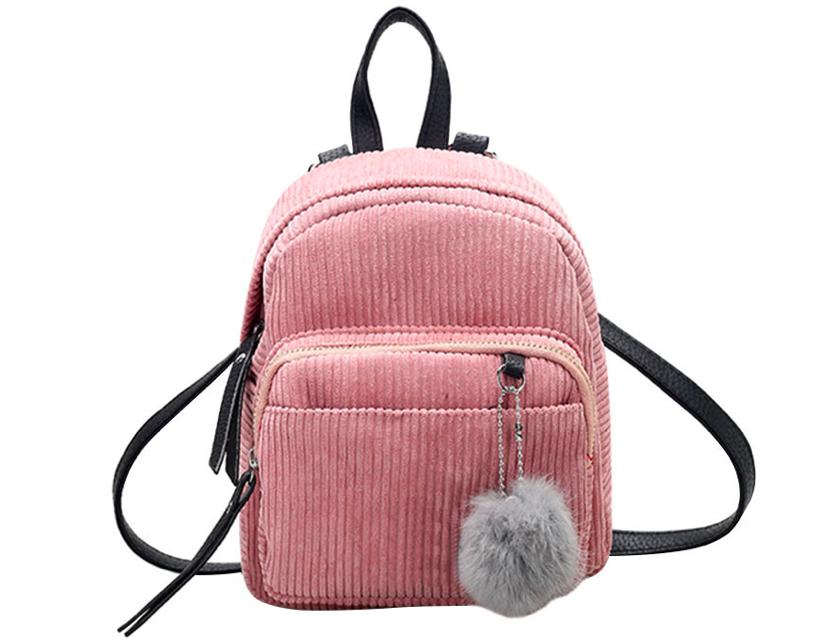 Рюкзак женский мини сумка CONEED вельветовый Розовый