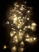 Новогодняя Светодиодная Гирлянда Штора - Бахрома с Елочками 80 Led Лампочек 2,8 х 0,6 Желтый