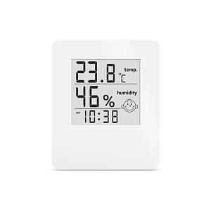 Термометр гигрометр комнатный цифровой электронный термогигрометр с часами Т-17 белый на батарейках