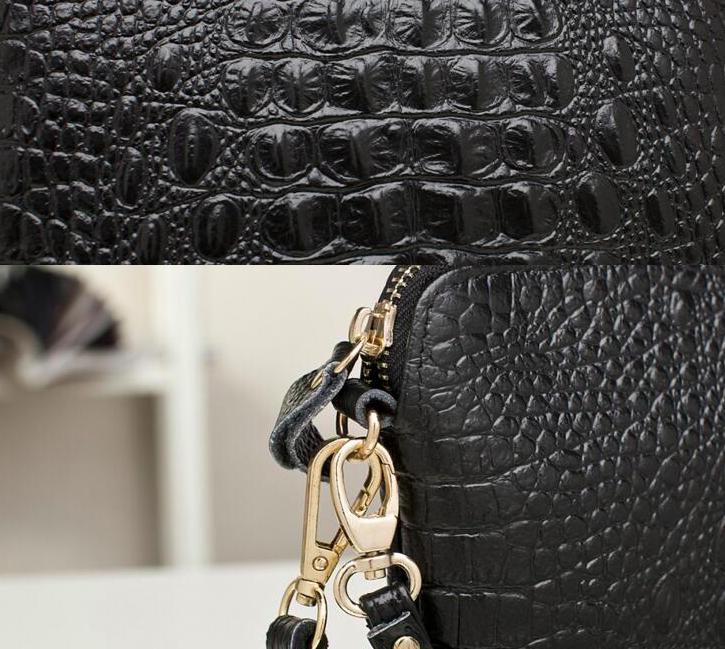 ceb5d6034316 Купить Сумку женскую клатч Натуральную Кожу крокодилью принт Чёрную ...