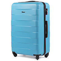 Большой пластиковый чемодан Wings 401 на 4 колесах голубой
