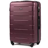Большой пластиковый чемодан Wings 401 на 4 колесах бордовый