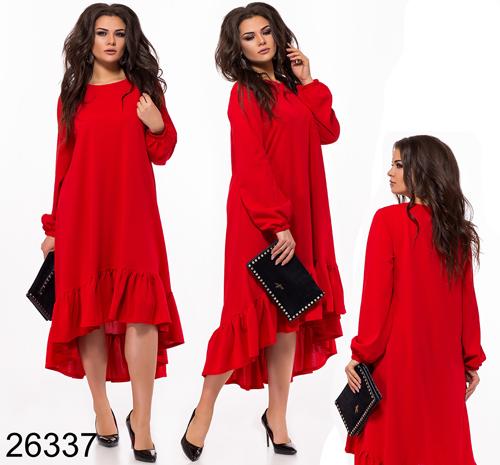 8e536207962 Асимметричное вечернее платье длинный рукав (красный) 826337 - СТИЛЬНАЯ  ДЕВУШКА интернет магазин модной женской