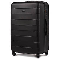 Большой пластиковый чемодан Wings 401 на 4 колесах черный