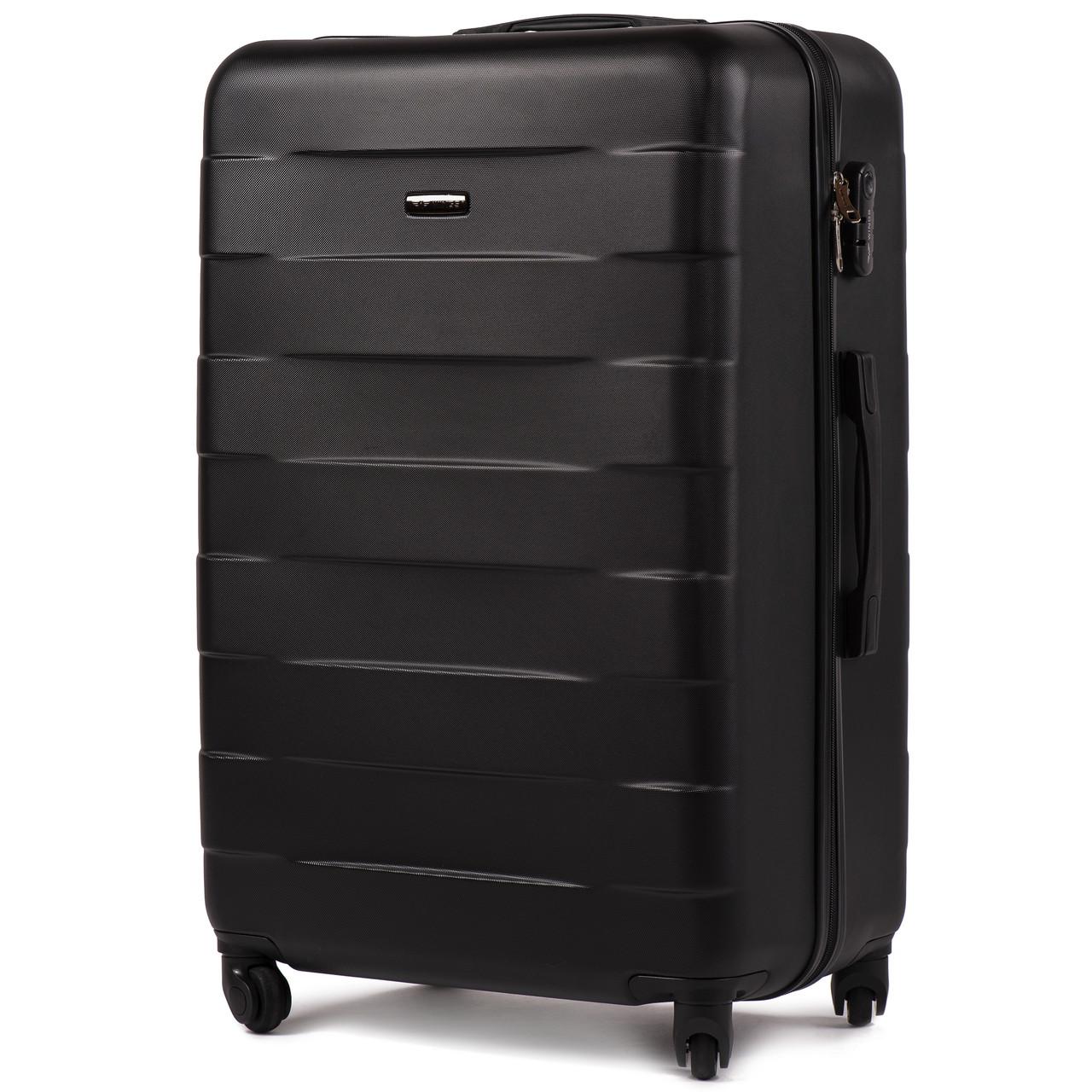 Большой пластиковый чемодан Wings 401 на 4 колесах черный, фото 1