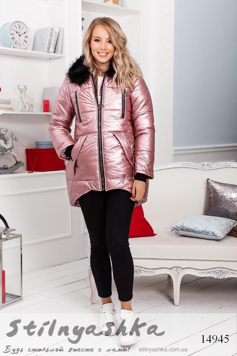 Асимметричная теплая женская куртка фрез, фото 1