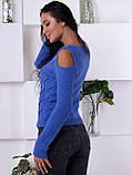 Интересный синий свитер с вырезами 200, фото 2