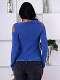 Интересный синий свитер с вырезами 200, фото 3