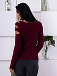 Джемпер бордового кольору з прорізами 199, фото 3