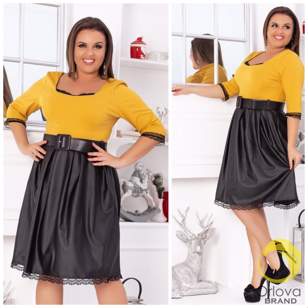 Платье больших размеров от 48 до 56, низ эко-кожа, декор кружево  / 2 цвета арт 7977-586