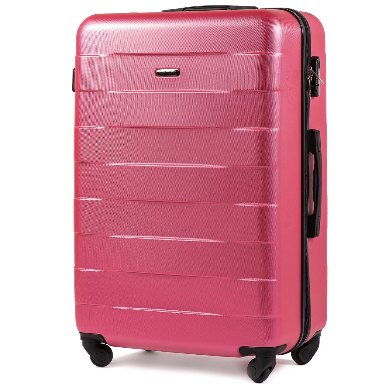 Большой пластиковый чемодан Wings 401 на 4 колесах розовый
