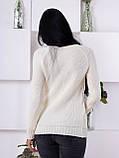 Женский свитер крупной вязки молочного цвета 176, фото 3