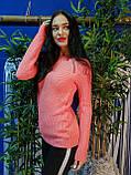Стильный свитер персикового цвета крупной вязки 179, фото 2