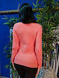 Стильный свитер персикового цвета крупной вязки 179, фото 3