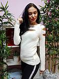Джемпер белого цвета с прорезями 225, фото 2