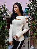 Джемпер белого цвета с прорезями 225, фото 3