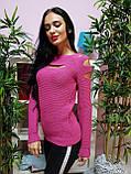 Джемпер темно-розового цвета с прорезями 228, фото 2