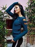 Джемпер темно-бирюзового цвета с прорезями 230, фото 2