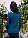 Джемпер темно-бирюзового цвета с прорезями 230, фото 3