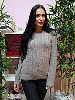 Красивый вязаный свитер серо-бежевого цвета 231